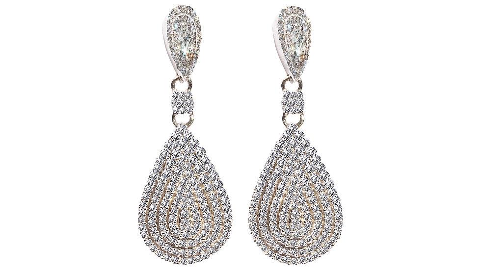 White Gold Pavé Tear Drop Earrings.