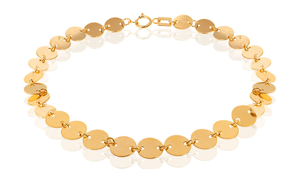Yellow Gold Bracelet, small discs linked