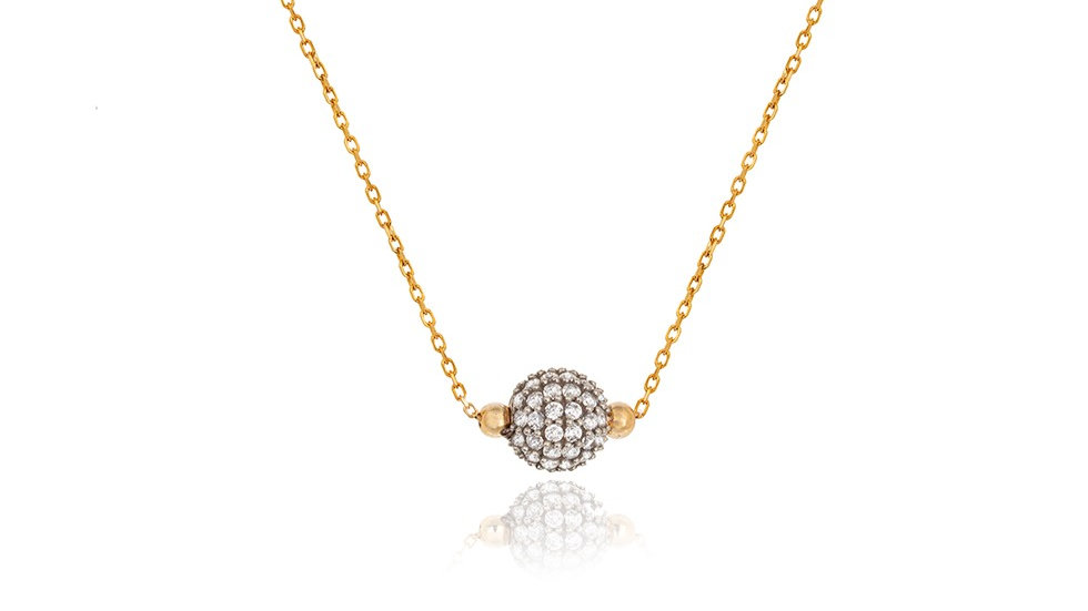 Yellow Gold Necklace with moving ball on chain