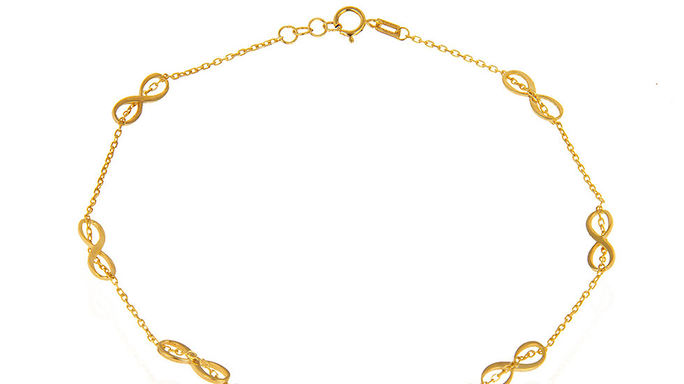 Yellow Gold Infinity Anklet.
