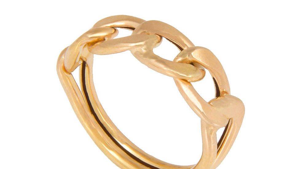 Yellow Gold Ring with curb links