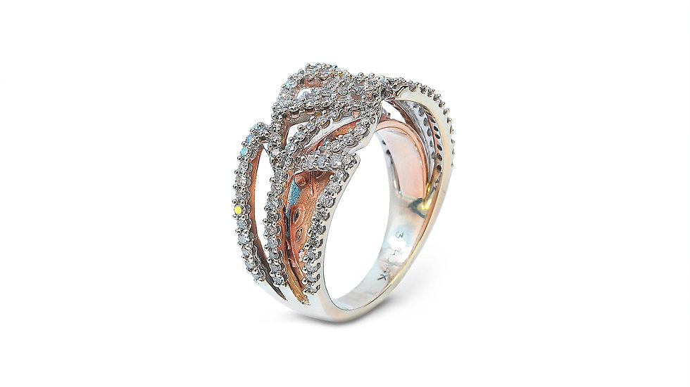 Two Tones Yellow and Rose Gold Diamond Ring with Patterns