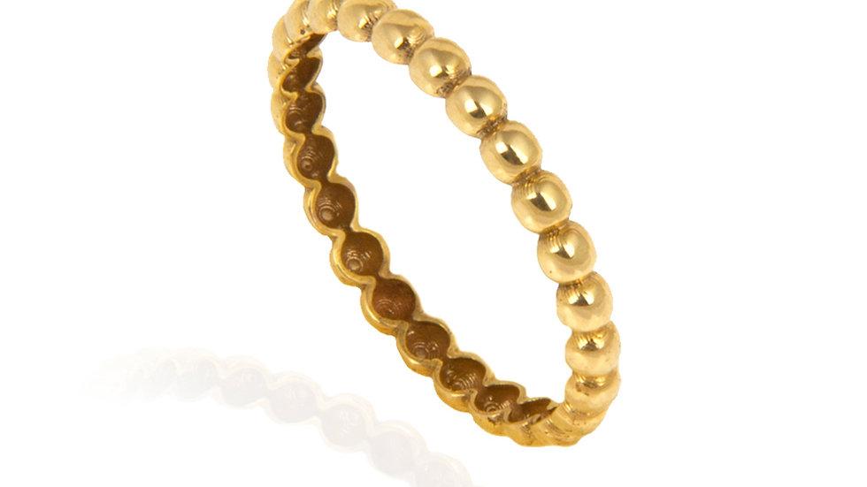 Yellow Gold Beaded Ball Ring