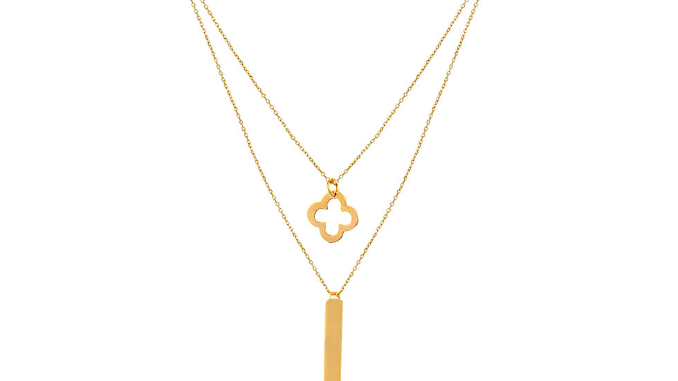 Yellow Gold two Layers Necklace