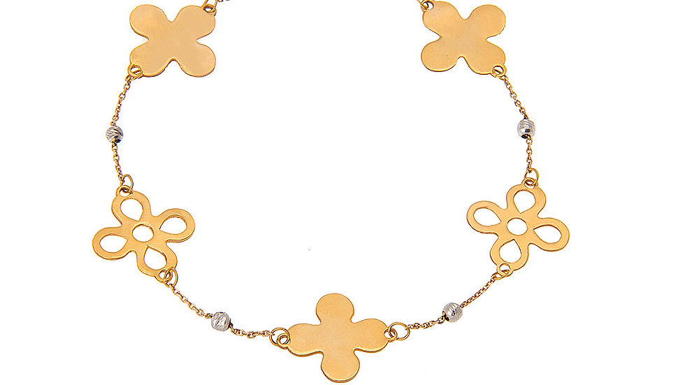 Yellow Gold Bracelet with 5 Clover Leaves and White Gold Balls.