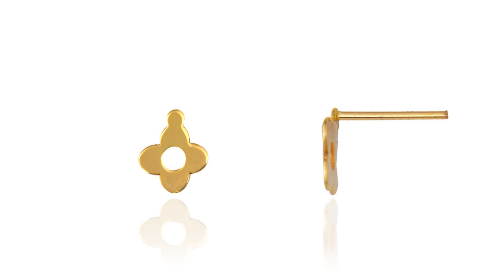 Yellow Gold small Clover shape Earrings