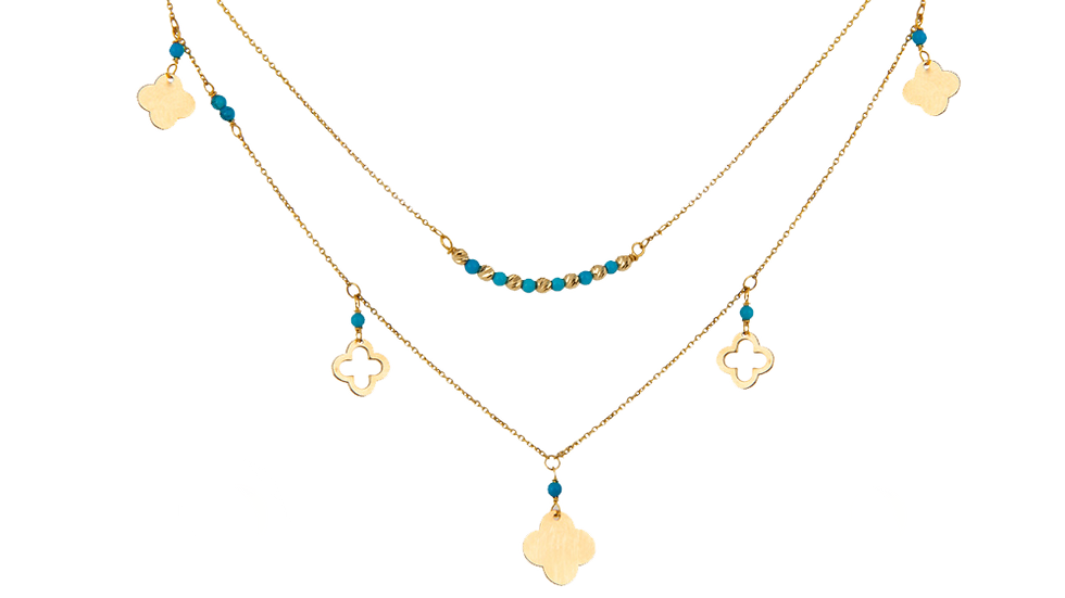 Yellow Gold Two Layer Necklace setting with Clovers and Torqouise Beads