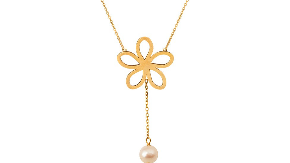 Yellow Gold Flower Necklace