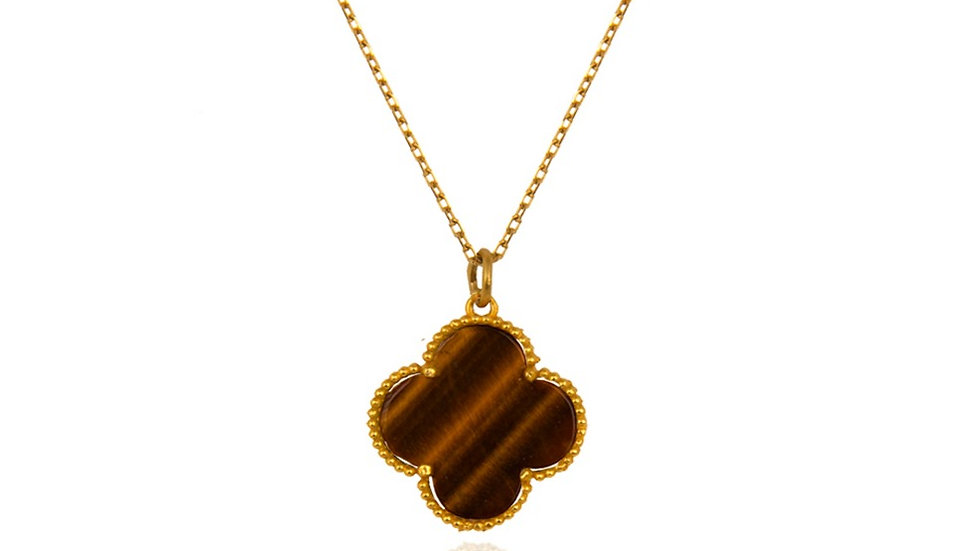 Yellow Gold Clover Pendent, with Tiger eye setting