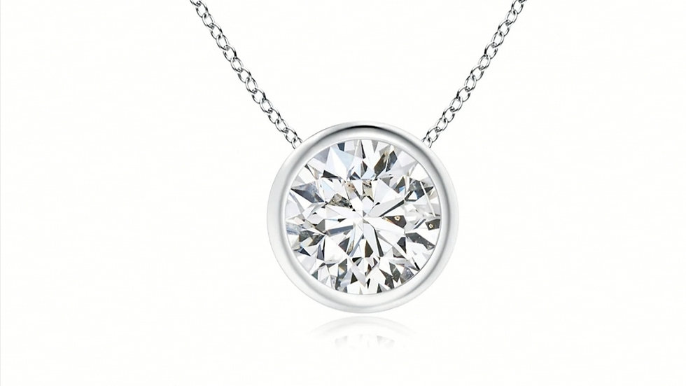 White Gold Solitaire Floating Basel Set Natural Diamond Necklace.