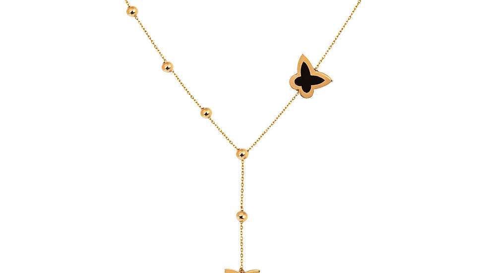 Yellow Gold Lariat Station Necklace designed with butterfly