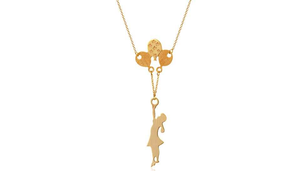 Yellow Gold Necklace, Girl with Balloons