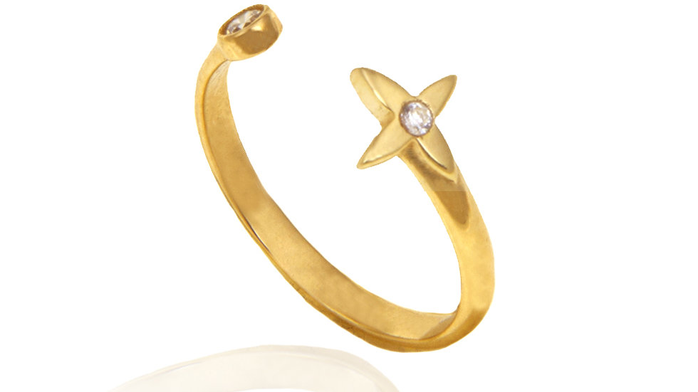 Moon and Star Open Ring