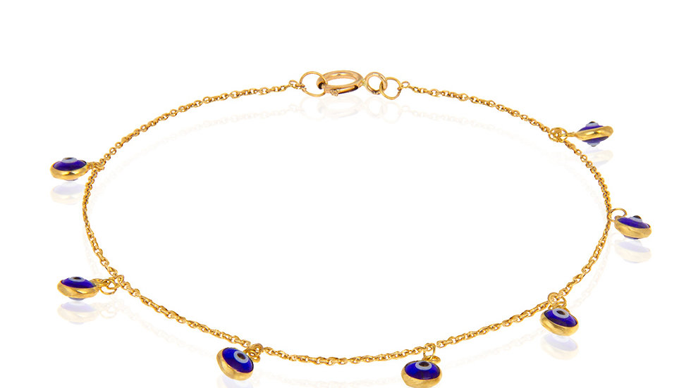 Yellow gold Bracelet with 7 blue Evil eye dangling