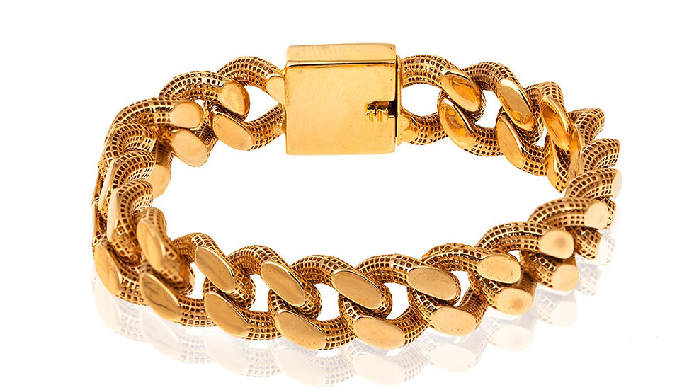 Bold Yellow Gold Curb Link Fusion Style Bracelet.