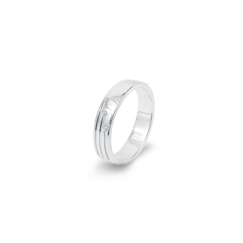 Band Diamond Ring with Two engraved Diamonds
