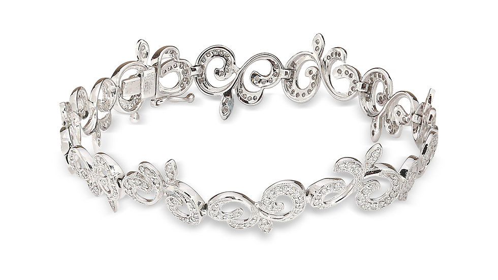 White Gold Floral Style Classic Diamond Bracelet.
