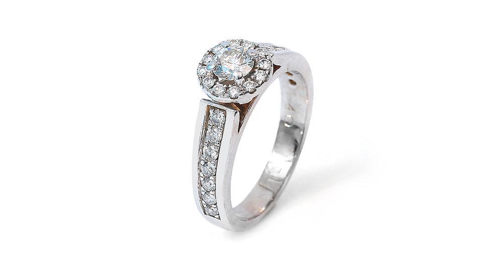 White Gold Halo Engagement Diamond Ring