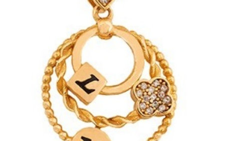 Yellow Gold Round Pendent with three circles