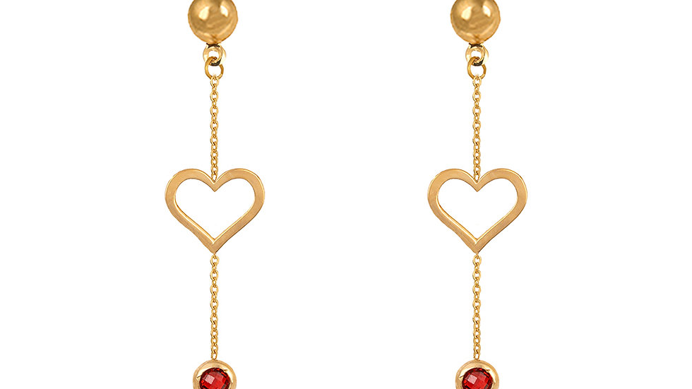 Yellow Gold Dangling Earring with heart