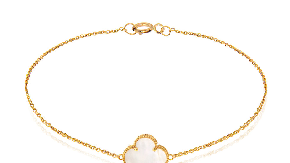 Yellow Gold Chain Bracelet with a Single Mother of Pearl Clover Leaf.