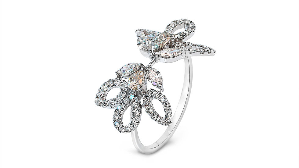 Floral and Leaf Style White Gold Diamond Ring