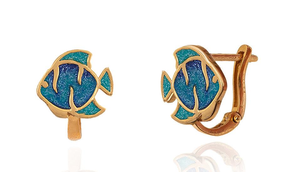 Yellow Gold Blue Enamel Earrings