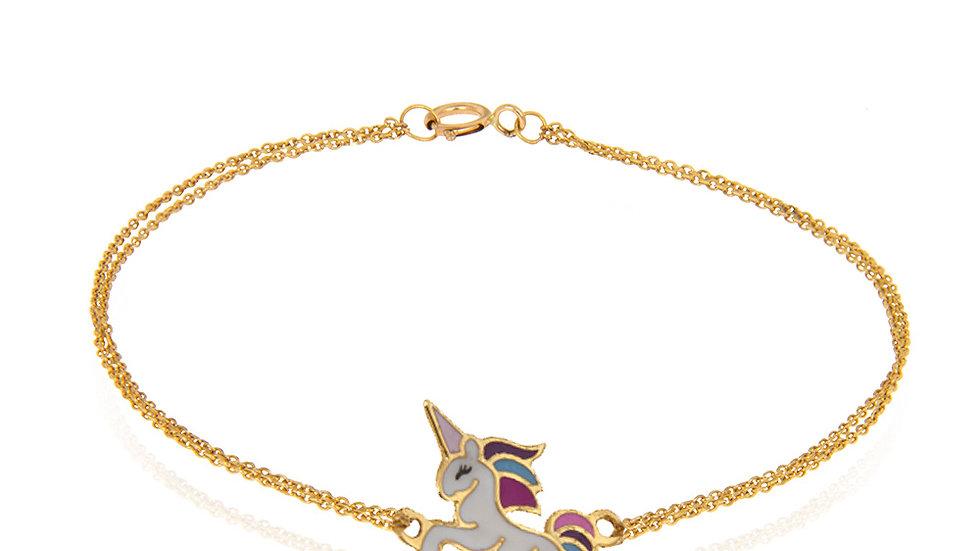 Yellow Gold Bracelet with gold Unicorn charm