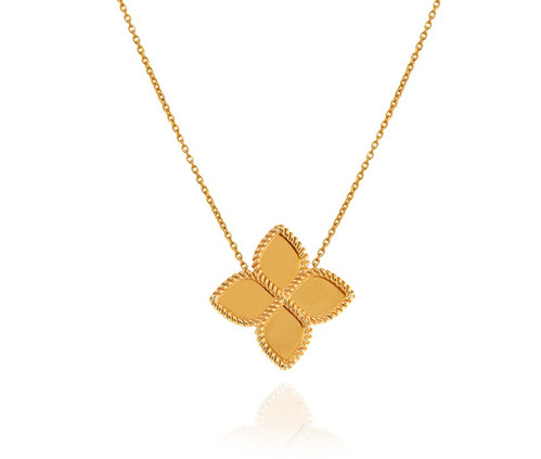 Floral Style Yellow Gold Necklace.