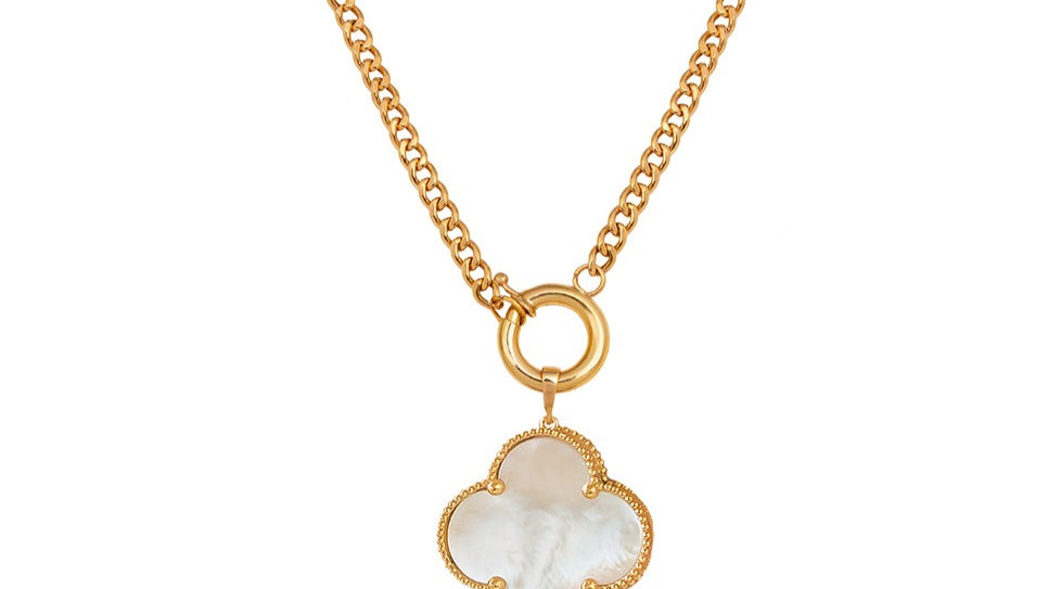 Yellow Gold Necklace with a Clover Charm