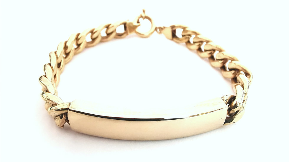 Yellow Gold Men's ID Bracelet.