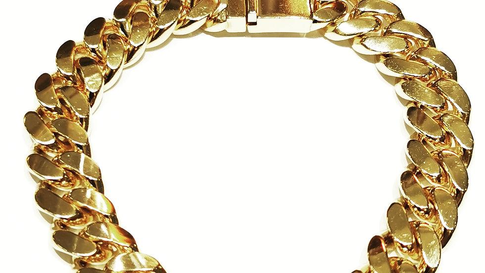 14k Yellow Gold Heavy Men's Curb Chain Bracelet..