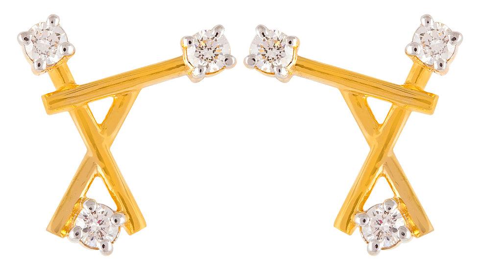 Yellow Gold Triangle Diamond Earrings.