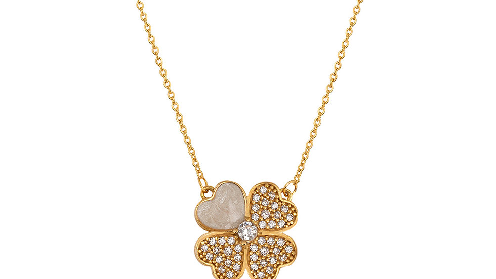 Clover Necklace with Cubic Zirconia and Mother of Pearl