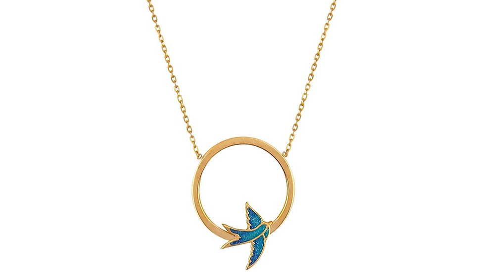 Yellow gold necklace with a  swallow bird
