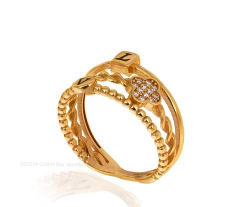 18k Yellow Gold CZ Clover Design Triple Shanks Ring.