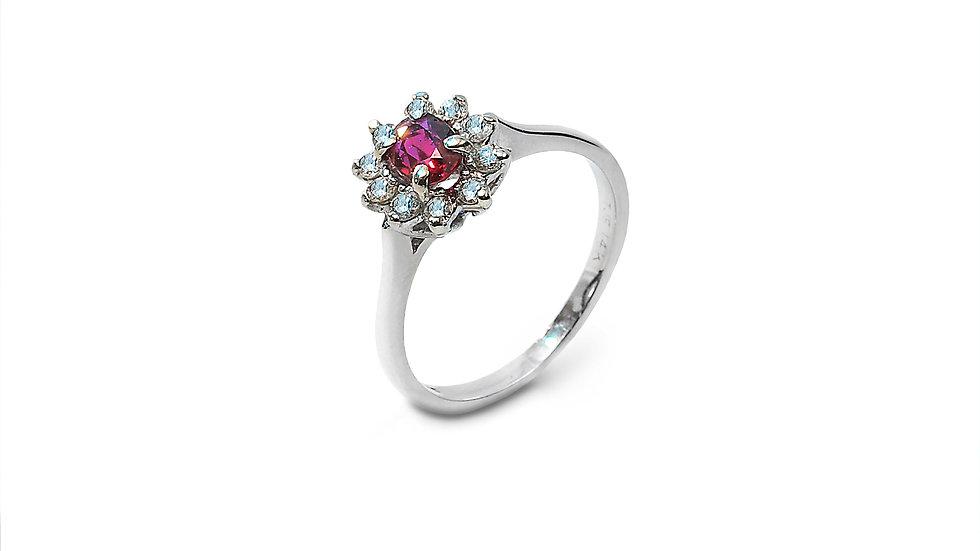 Diamond Ruby Flower shape Ring