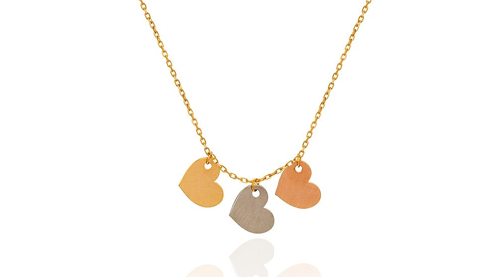 Yellow Gold three heart Necklace