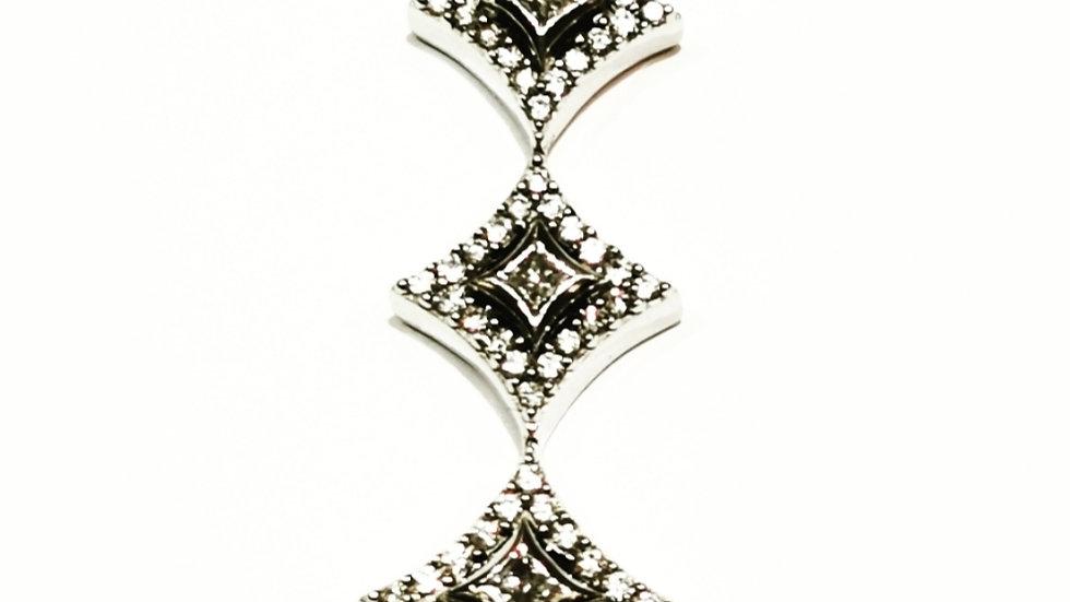 Three Diamond shape white gold Pendent with diamond setting