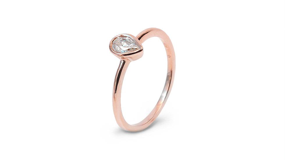 Bazel-Set Solitaire Pear Shaped Diamond Engagement Ring