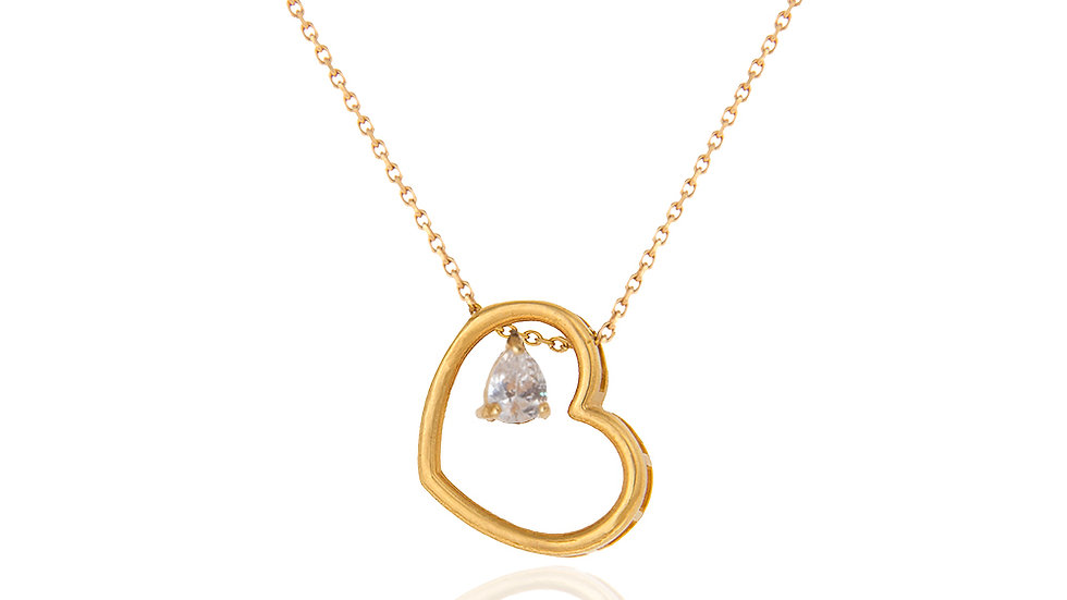 Yellow Gold heart Necklace with a Cubic Zirconia
