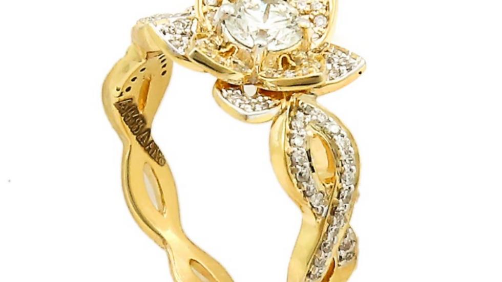 Yellow Gold Flower Shape Cocktail Diamond Ring.