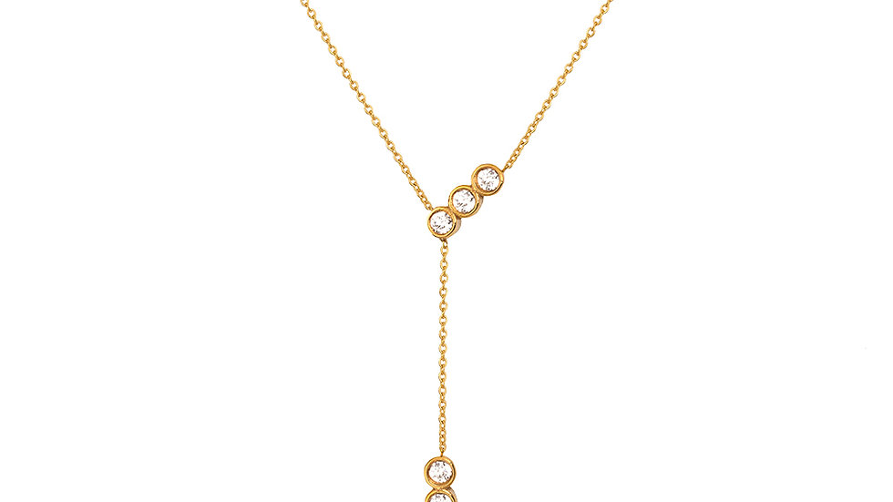 Yellow Gold Y shape Necklace
