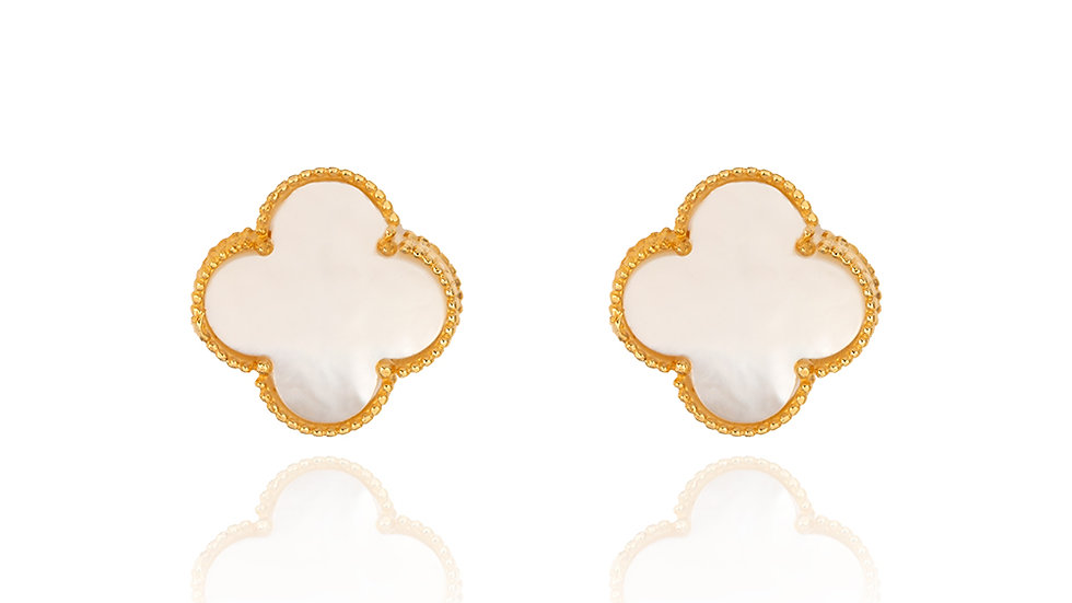 Yellow Gold Clover Earrings with Mother of Pearl