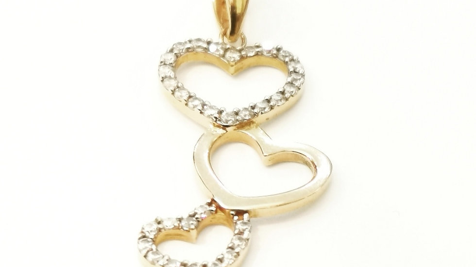 Yellow Gold CZ Pendent with Four Hearts.