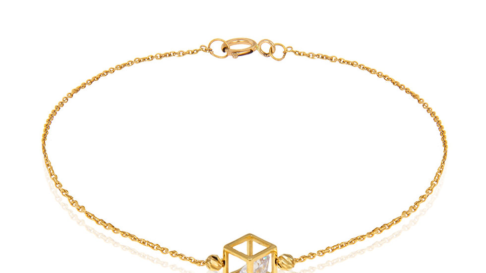 Yellow gold Bracelet with one Cube