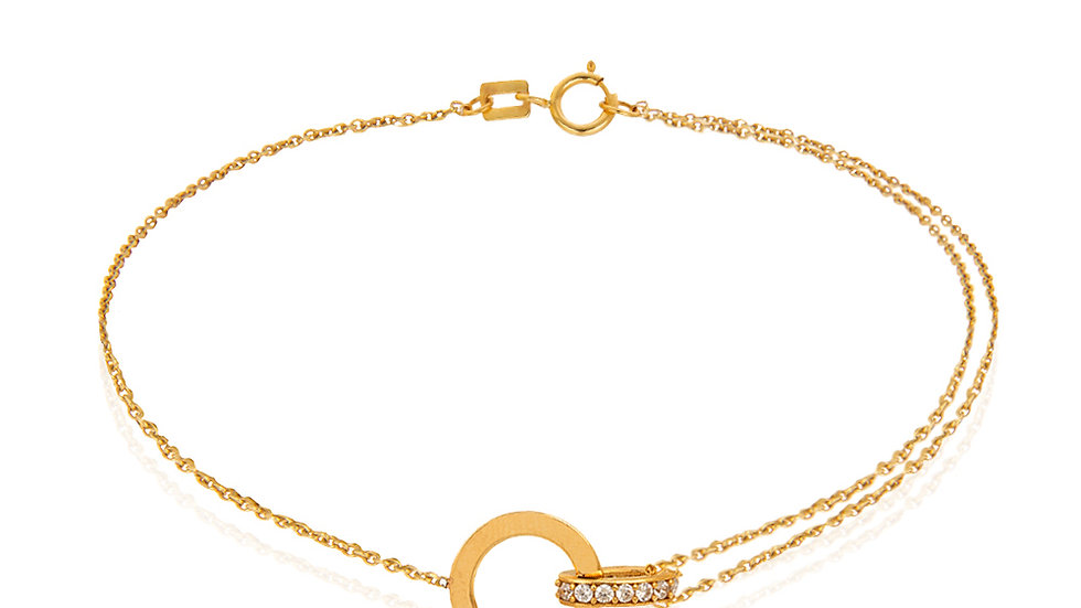 Yellow Gold chain Bracelet with Cubic Zirconia on setting