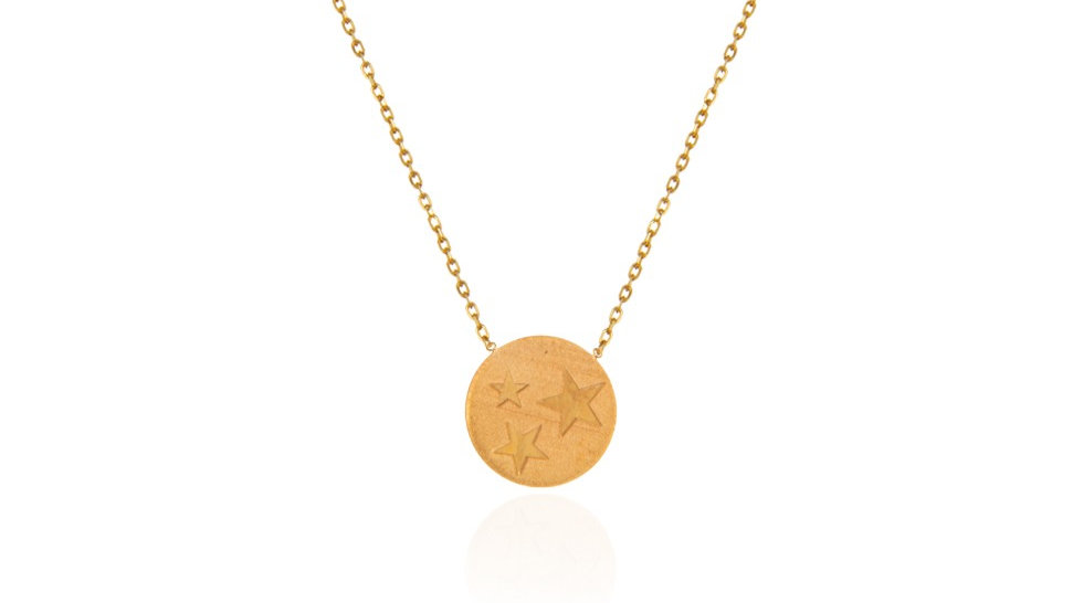 Yellow Gold circle Necklace with three stars engraved