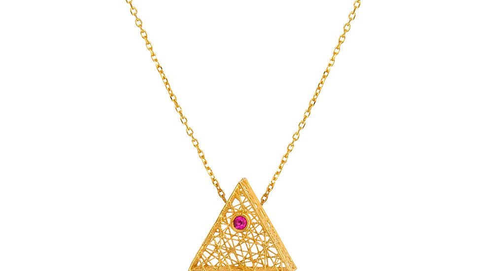 Yellow Gold Triangle Mesh Basket Necklace