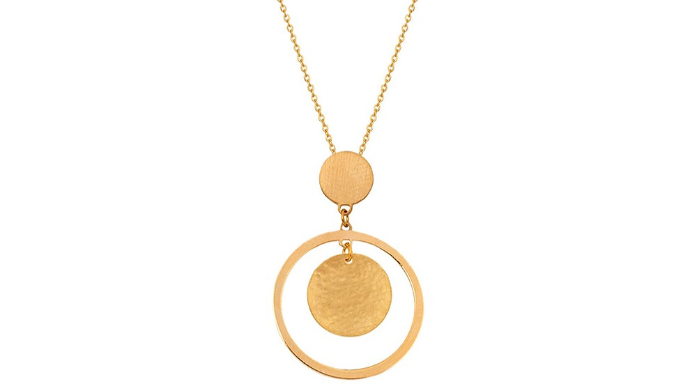 Yellow Gold Necklace with circle and disc hanging